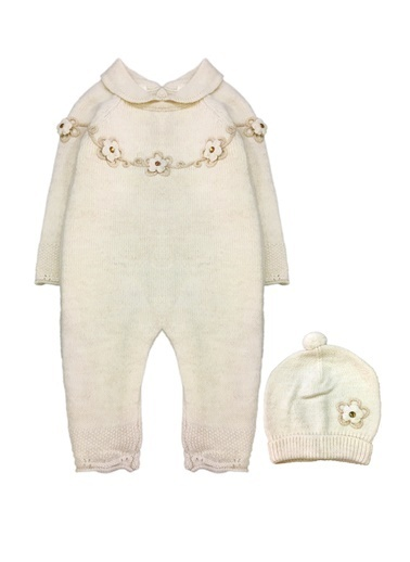 By Leyal For Kids Yaka Detaylı, Arka Komple Düğmeli Triko Tulum Ve Şapka Set-7030 Krem